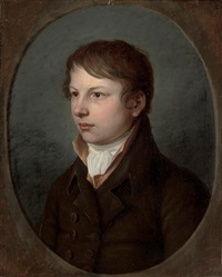 portrait of a boy in a brown coat by christian leberecht vogel