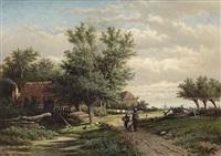 a peasant family on a path by georgius heerebaart