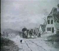 pferdefuhrwerk vor einem bauernhof by karl elsner