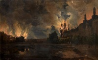 l'incendie des tuileries dans la nuit du 23 au 24 mai 1871 by léon-auguste mellé