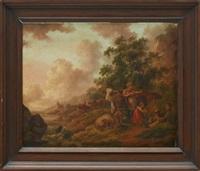 pastoralt landskap med figurer by peter la cave