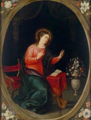 verkündigungsmadonna in einer gemalten kartusche mit blumen in den zwickeln by cornelis schut the elder
