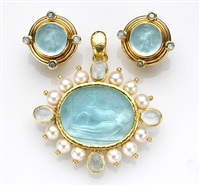 a brooch-pendant with matching earrings (various sizes; set of 2) by elizabeth locke