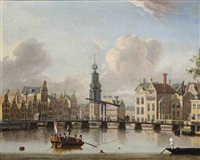 a view of the munt, amsterdam with figures in boats and swimming in the canal by jacobus storck