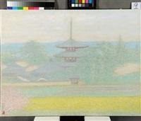 temple of okamoto in spring by yoshishiko yoshida