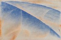 soleil couchant au poisson rouge-mer by giacomo balla