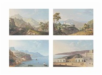 the bridge at cava dei tirreni; the royal palace at quisisana, castellammare di stabia; the amalfi coast; and the villa reale in naples (4 works) by saverio xavier della gatta