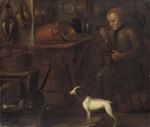 a lady eating in a kitchen interior a dog at her side by giovanni domenico valentino