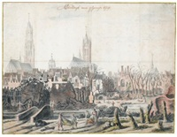 view of delft after the explosion of 1654 by daniel vosmaer