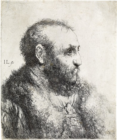 bust of a man wearing a fur coat profile by jan lievens