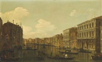 the grand canal, venice, looking south-east from the palazzo pesaro to the fondaco dei tedeschi by canaletto