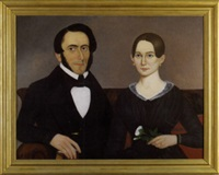 portrait of mr. and mrs. colbey sitting on a sofa, the man holding a book, the woman holding a flower by george gassner