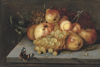 apples, grapes, pears and apricots on a stone ledge with a butterfly, and spiders nearby by jacob woutersz vosmaer