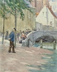 figures by a bridge, brittany by norman garstin