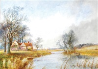 farmhouse by a river (+ sheep by a stream; 2 works) by arthur willett