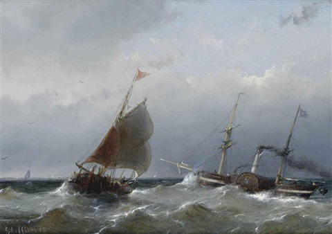 a steamer on open water by andreas schelfhout