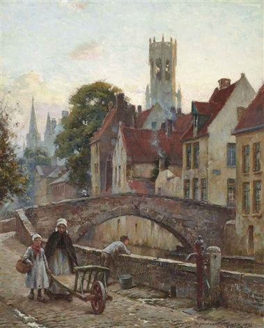 figures on a cobbled street before a bridge by blandford fletcher
