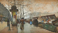 le quai des bouquinistes animé à paris by eugène galien-laloue