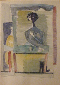 woman and cat by avraham naton