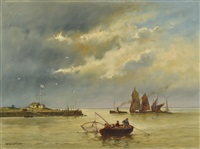 barcas pesqueras cerca del muelle by theodor alexander weber