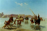 figures coming ashore near luxor, upper egypt by paul rudolf linke
