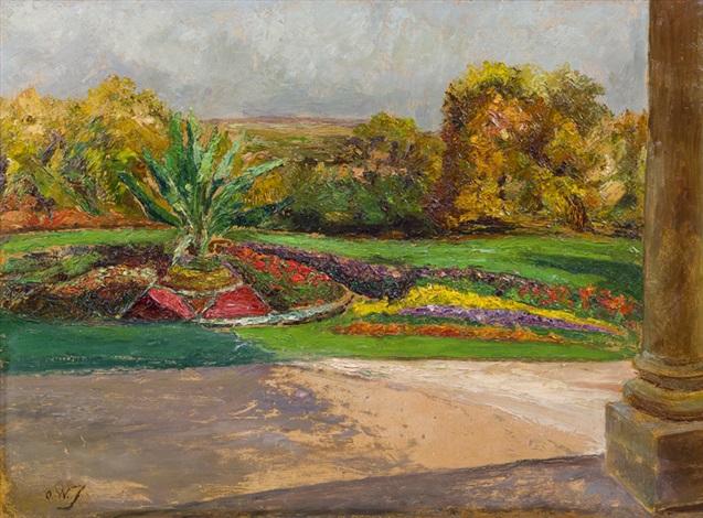 parklandschaft mit blumenbeeten by olga wisinger florian