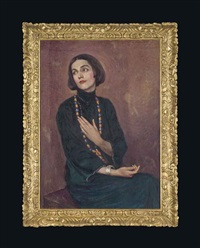 portrait of isadora duncan, wearing a blue dress, with a beaded necklace by paul swan