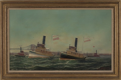 the tugboats of wm j mccaldin gh dentz and js stranahan in the east river south of the brooklyn bridge by antonio jacobsen
