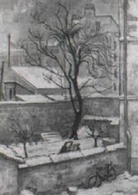 callejuela parísina, con gran árbol y bicicleta by rufino 'cebal' ceballos
