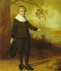 portrait of a seven year old boy in a river landscape by jan daemen cool