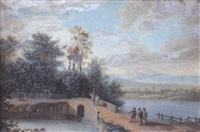 landscape with travellers by a river by carl sebastian von bemmel