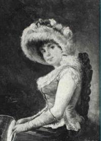 retrato de dama sentada con pay-pay by josé alarcón suárez