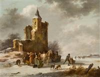 winterlandschaft mit schlittschuhläufern vor einer ruine by fredericus theodorus renard