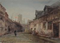 rues animées (pair) by jan baptiste tetar van elven