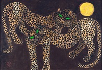 two leopards and moon by popo iskandar