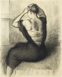 femme se coiffant by léonid frechkop