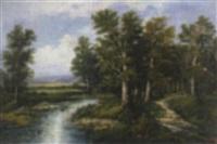 waldlandschaft mit flusslauf by a. helbig