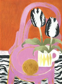 black striped tulips red by mary fedden