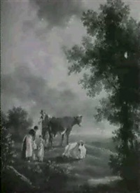 landscape with cattle and a young dairymaid by henry milbourne