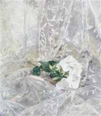 roses in a glass vase (+ summer flowers and lace; pair) by robert sargent austin