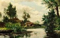 moored boat in a polder landscape by willem elisa roelofs