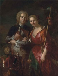 double portrait of a lady and gentleman dressed as pilgrims for cythera, attended by cupid by pierre le sueur