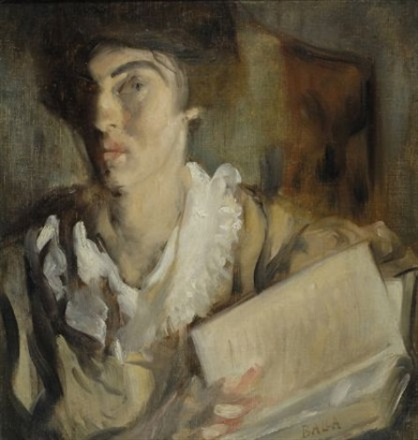 donna con il libro by giacomo balla