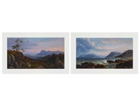 view from the bridle path up table mountain; kalk bay (2 works) by abraham de smidt