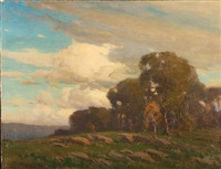 landscape with grassy clearing near forest by frank charles peyraud
