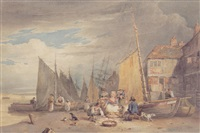 a fish market on the beach
