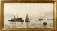 harbor scene by edward henry eugene fletcher