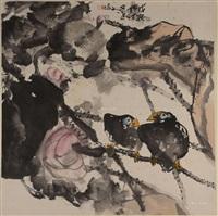 双鸟图 立轴 纸本 by jiang wenzhan