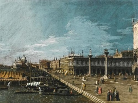 venice a view along the molo looking west towards the punta della dogana by bernardo bellotto