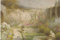 an italianate garden (+ tropical garden, watercolor; 2 works) by alfred c. weatherstone